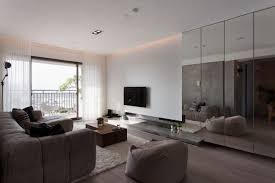 View in gallery Mirrored panels in a modern living room