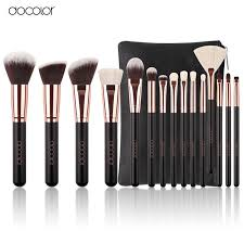rose gold and black makeup brushes. (15) complete rose gold black makeup brush set mixed hair bristles and brushes p