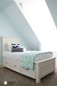 white twin storage bed.  Storage Inspiring Kids Twin Bed With Storage Diy Shanty 2 Chic In White L