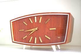 classic design teak wooden mechanical retro mid century desk clock made in germany