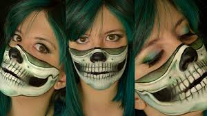makeup tutorial diy easy skull half skull green bandana you