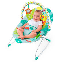 Bright Starts Raindrop Rainforest Baby Bouncer Smiling Upright ...