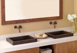 wall mounted faucets bathroom. Furniture Astonishing Small Bathroom Sink Top Mount Using Semi Recessed Rectangular Basin From Hammered Copper On Wall Mounted Faucets