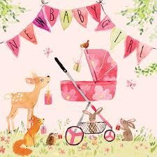 Fiz3 New Baby Girl Card Woodland