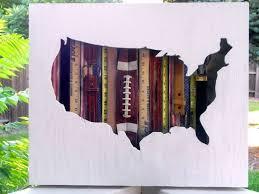 diy vintage americana wall art map