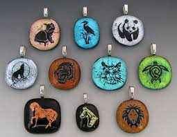 laser etched animal dichroic fused glass pendants