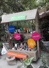 aroma magic kiosk outside their spa in hauz khas village new delhi