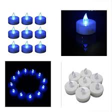 Fake Tea Lights Ebay 12 Flameless Tea Lights Candles Blue Led Frosted Flickering Tealight Battery