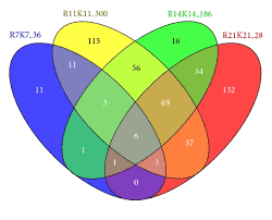 four circle venn diagram venn diagram of four de sets having the number of de genes between