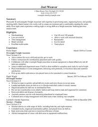 Gallery Of Best Part Time Overnight Freight Associates Resume