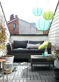 apartment balcony furniture. Small Balcony Furniture Grey Sofa Coffee Table Wood Floor Metal Lanterns Apartment O