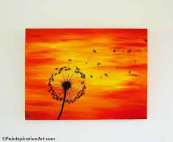 Dandelion Painting on 24x18 Large Canvas Painting - Sunset Paintings  Silhouette Art - Red, Yellow