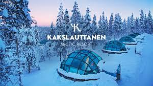 Glass Igloo Northern Lights Official Kakslauttanen Arctic Resort In Wintertime