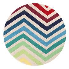 chevron multi coloured round rug ux