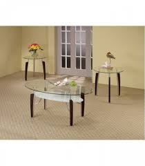 3pc coffe table set cappuccino chrome