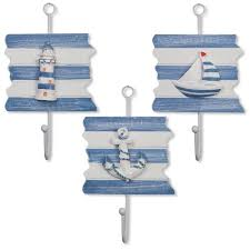 now set of 3 nautical beach wooden hanging wall art hooks lighthouse sailboat and anchor for home kitchen bedroom bathroom nursery classroom office