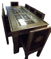 dining table furniture bazaar. metal and leather arabesque carved door dining table 8 chairs furniture bazaar