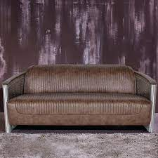 3 seater industrial loft sofa nailhead trim