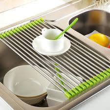 roll up drying rack drain rack kitchen sink shelf stainless steel roll up dish drying rack