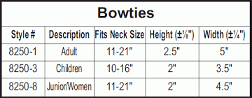Bow Size Chart 8250 Bow Tie