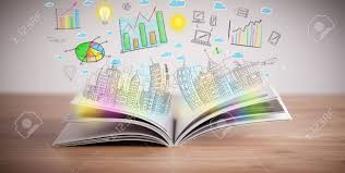 drawing of a colorful business scheme on an opened book stock photo 22756708