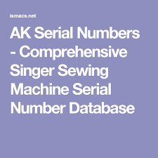 White Sewing Machine Serial Number Database