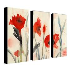 trademark fine art 10 in x 24 in poppies 3 piece canvas art