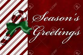 A Seasons Greetings Card A Candy Cane With Words Seasons