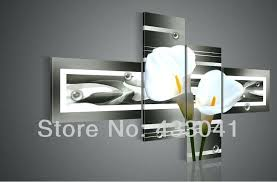 black and grey wall art hand painted grey yellow white calla lily flower oil painting on canvas 4 piece set modern abstract wall art home decoration black