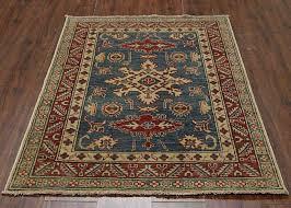 traditional handmade kazak area rug blue red color 100 wool turkish rugs 3 x 5