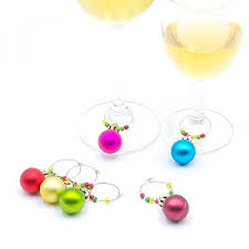 glass markers wine glass charms 6 color assorted ball ornaments to identify your drinks and