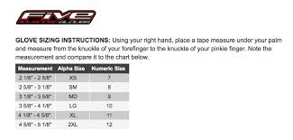 Five5 Gloves Sizing Chart Motorcycle Stuff