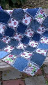 Denim and floral baby rag quilt. For sale | My Projects ... & Denim and floral baby rag quilt. For sale Adamdwight.com