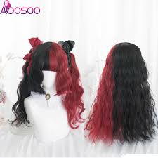 <b>Lolita</b> 50CM Black Mixed Red Ombre Long Short Curly wavy Bob ...