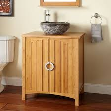 bamboo flooring in bathroom. Minimalist Bamboo Bathroom Cabinet With Black Stone Sink And Classic Flooring In