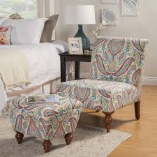 Blue And Brown Accent Chair Blue Brown Floral Pattern Chair Combined With Cube Ottoman Having