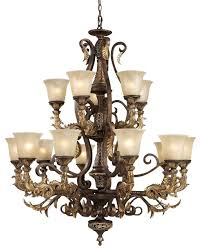 ornate 2 tier crystal and cast iron scrollwork chandelier led