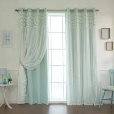 aurora home fl lace overlay thermal insulated blackout grommet top curtain panel pair