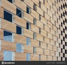 stacked wood wall panels wooden block stack wall pattern panel interior design stock photo