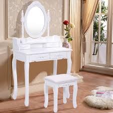 costway white vanity jewelry makeup dressing table set bathroom w stool 4 drawer mirror wood