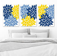 blue and yellow wall decor