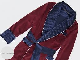 Baturina Homewear & Men's Burgundy Velvet and Navy Blue Quilted Silk Classic Dressing Gown Adamdwight.com