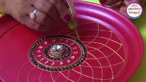 Pooja Ki Thali Design Diy How To Make Decorative Pooja Aarti Thali Plate At Home In Hindi By Jyoti Sachdeva
