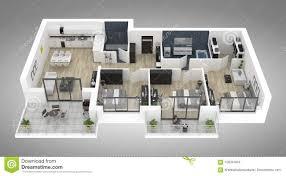 Open Concept 3 Bedroom House Floor Plan Design 3d Floor Plan Of A House Top View 3d Illustration Open Concept