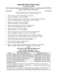 nalanda open university post gradiate diploma in journalism mass  nalanda open university post gradiate diploma in journalism mass communication paper ii mass media and society 2014 question paper pdf