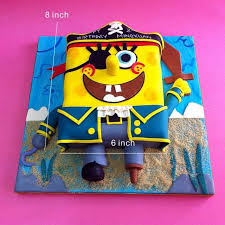 Handcraft Sweet Modeling Spongebob Pirate Party Cake Kljbpenang