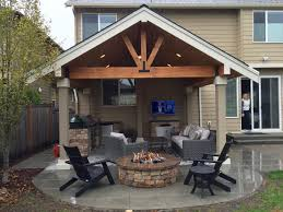 Covered patio with fire pit Stone Share Malones Landscape Fire Pits Malones Landscape