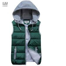 LZJ Women Cotton <b>Wool Collar</b> Hooded Down Vest Removable Hat ...