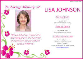 Memorial Card Template Free Funeral Program Card Templates