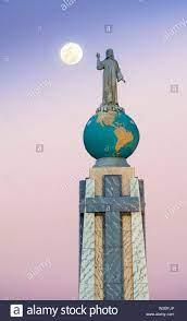 San Salvador, El Salvador, Full Moon, Dawn, Monument To The Divine Savior  Of The World, Monumento Al Divino Salvador Del Mundo, Statue Of Jesus  Christ Standing On A Global Sphere Of Planet